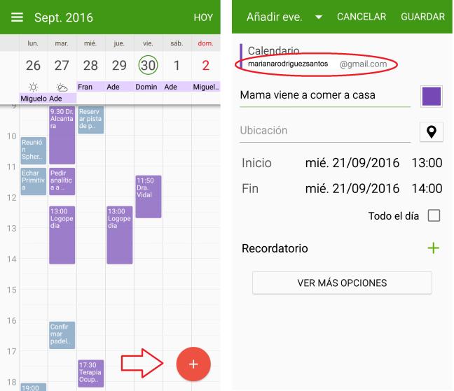 Calendario combinado en Android y Añadir evento