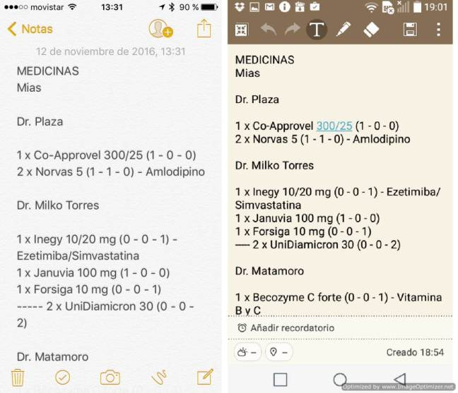 APPs Notas de iPhone y QuickMemo+ de un LG con Android
