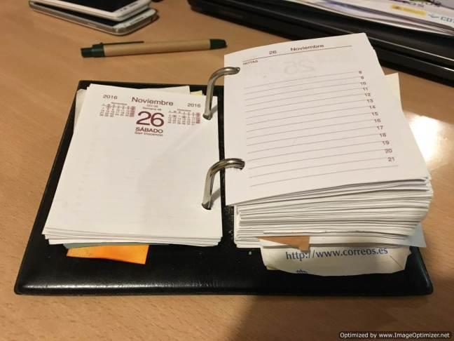 Calendario en papel