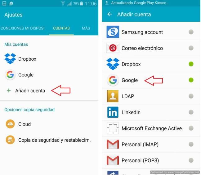 Añadir cuenta en Android