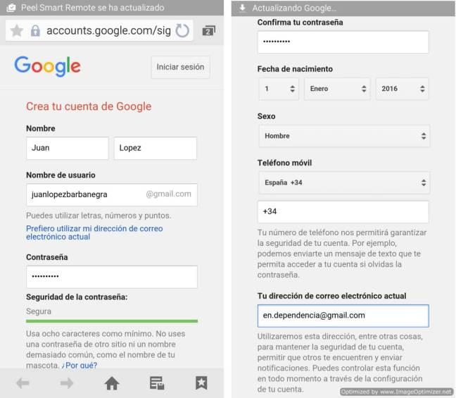 Creando una cuenta de Google