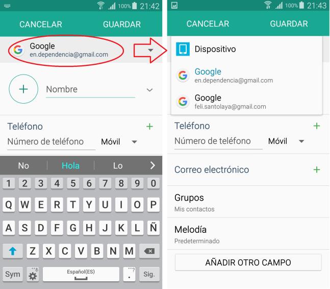 Nuevo contacto en Android