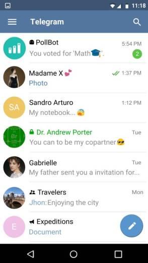 Aspecto de Telegram