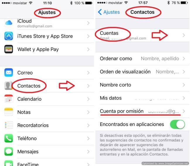 Ajustes de cuentas de Apple